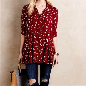 Anthropologie Red Button-up Blouse